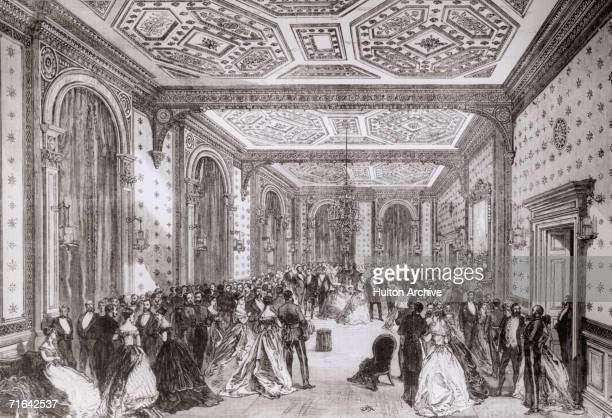 English statesman Benjamin Disraeli 1st Earl of Beaconsfield holds an assembly at the new Foreign Office in Whitehall during his first term as Prime...