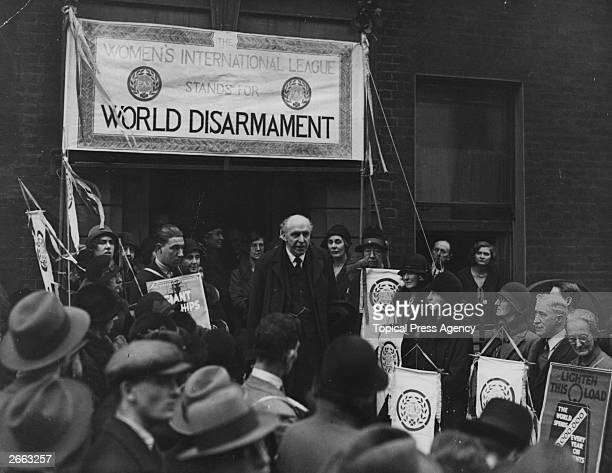 English statesman Lord Robert Cecil speaking at the Women's International League before the Geneva Disarmament conference.