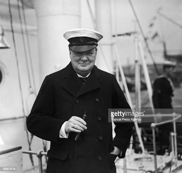 English statesman Sir Winston Churchill on board HMS Enchantress during a review of the fleet by King George VI at Spithead.