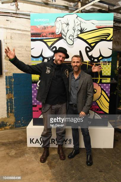 English street artist D*Face and Aldo del Bo of Kaspersky Lab attend Moniker Art Fair During the event Cybersecurity giant Kaspersky Lab unveiled the...