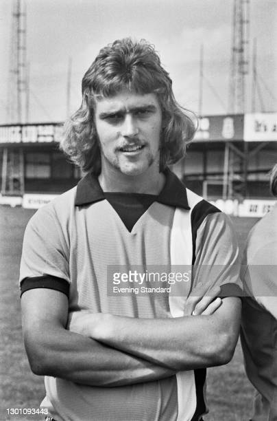 English striker Viv Busby of League Division 2 team Luton Town FC, at the start of the 1973-4 football season, UK, 6th August 1973.
