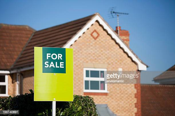 english suburban house for sale. - for sale stock pictures, royalty-free photos & images