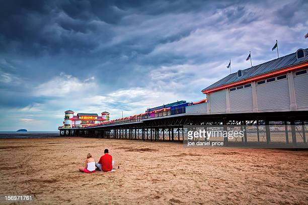 english summer at weston super mare's grand pier - weston super mare stock pictures, royalty-free photos & images