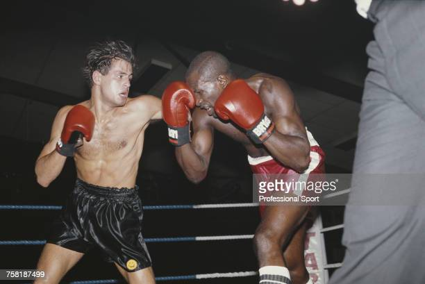 English super welterweight boxer Tony Collins pictured in action to defeat fellow English boxer BK Bennett by a total knock out at the Festival Hall...