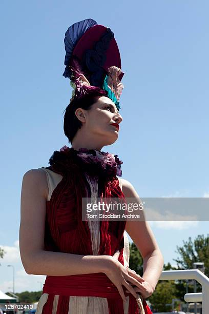 English supermodel Erin O'Connor photographed at the Investec Derby Day held at Epsom Downs Racecourse, Surrey, southern England. The Queen's horse...