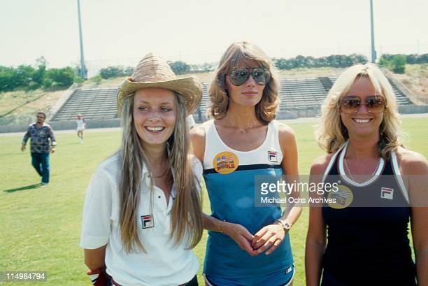 English supermodel Twiggy and actresses Maude Adams and Susan George compete on the NBC TV special 'US Against The World' that aired on September 7...