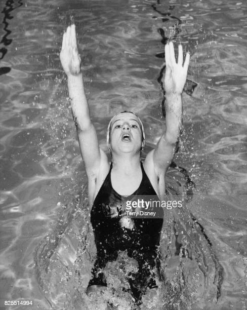 English swimmer Linda Ludgrove training at the Forest Hill Baths London for the European Championships in Germany 19th August 1962