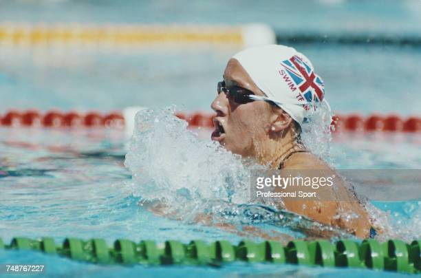 English swimmer Zara Long competes for the Great Britain team in the Women's breaststroke swimming events at the 1991 World Aquatic Championships in...