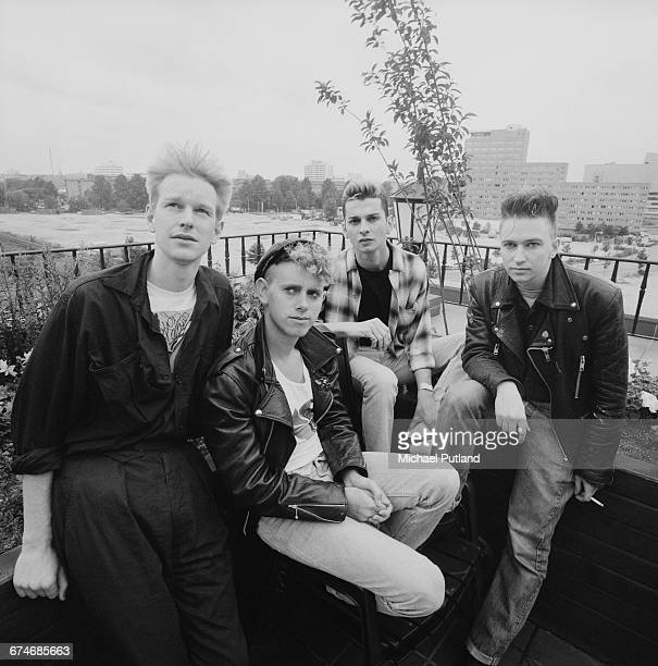 English synthpop group Depeche Mode West Berlin July 1984 Left to right Andy Fletcher Martin Gore Dave Gahan and Alan Wilder