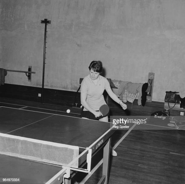 English table tennis champion Mary Shannon in action, May 1965.