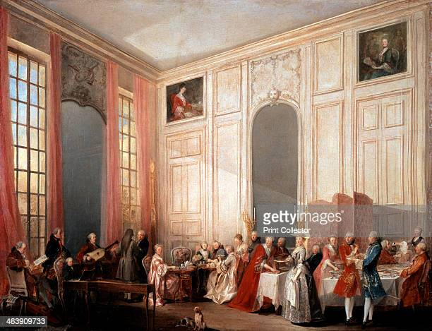 'English Tea Party with the Prince of Conti at the Temple' 1766 The young Wolfgang Amadeus Mozart is seated at the clavichord at the left of the...