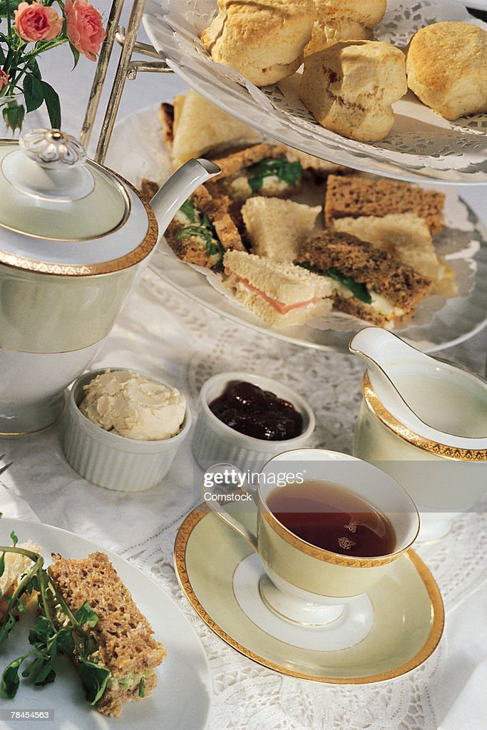 English tea table setting with finger sandwiches  Stock Photo & English Tea Table Setting With Finger Sandwiches Stock Photo | Getty ...