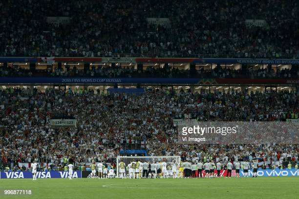English team thanks her fans during the 2018 FIFA World Cup Russia Semi Final match between Croatia and England at the Luzhniki Stadium on July 01...