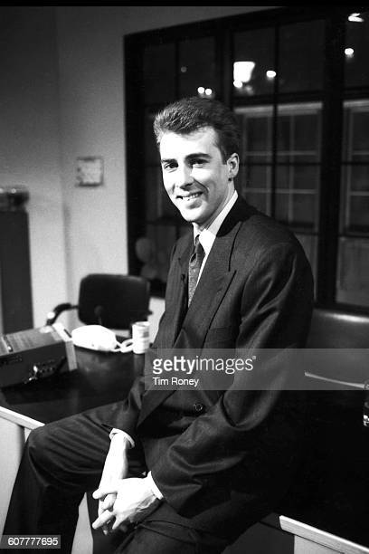 English television and radio presenter Jonathan Ross on the set of the Channel 4 chat show 'The Last Resort with Jonathan Ross', London, UK, 1987.