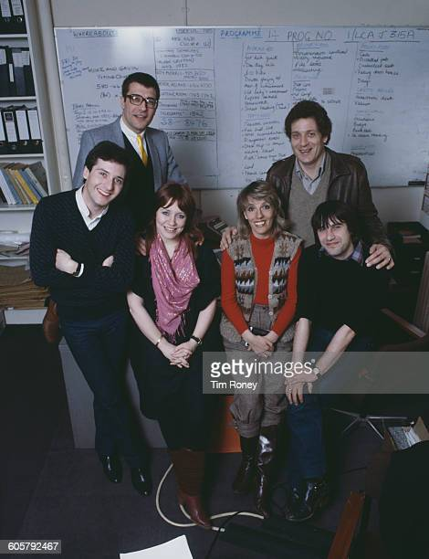 English television presenter and journalist Esther Rantzen and the team of the BBC1 television series 'That's Life' in their offices UK circa 1982...