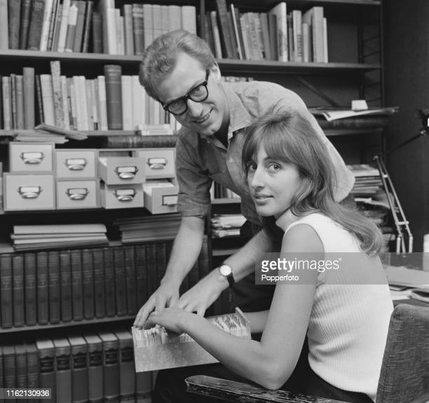 English television presenter Bamber Gascoigne host of the television quiz show University Challenge pictured with his wife Christina at home in...