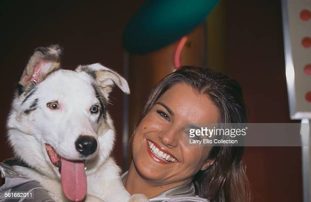 English television presenter Katy Hill from the TV children's programme 'Blue Peter' with 'Blue Peter' blue merle border collie Mabel 1996 Mabel's...