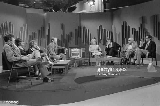 English television presenter, media personality, journalist, comedian, and writer David Frost hosts 'The Nation Decides', a special ITV broadcast...