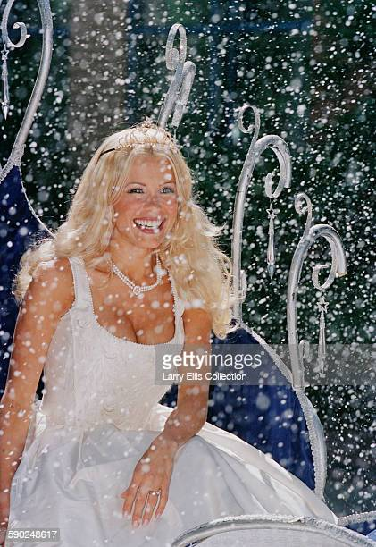 English television presenter Melinda Messenger in a photocall for the pantomime 'Cinderella' at the New Victoria Theatre in Woking, Surrey, UK, 2000.
