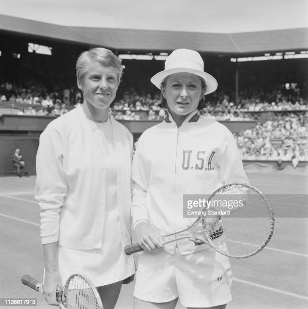English tennis player Ann Jones and American tennis player Nancy Richey pictured together before the Women's Singles Quarterfinals at Wimbledon...