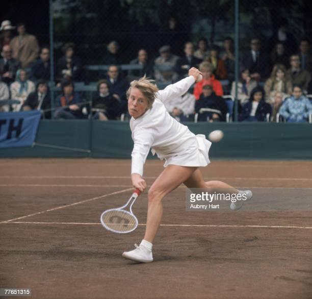 English tennis player Ann Jones competing at the Queen's Club London circa 1970