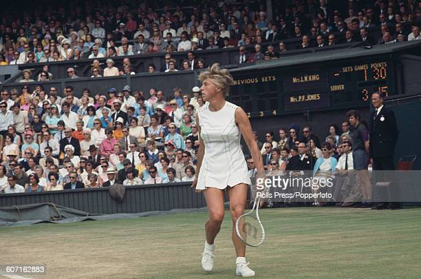 English tennis player Ann Jones pictured during her semi final match against Billie Jean King at The Championships Wimbledon tennis tournament in...