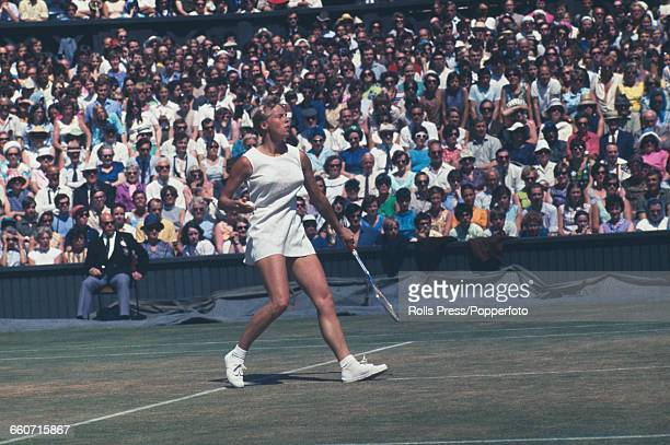 English tennis player Ann Jones pictured in action during the final of the Ladies' Singles tournament against Billie Jean King at the Wimbledon Lawn...