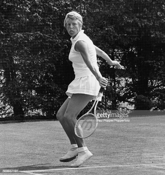 English tennis player Ann Jones playing on the practice courts during the Wightman Cup competition at Wimbledon in London on June 8th 1970