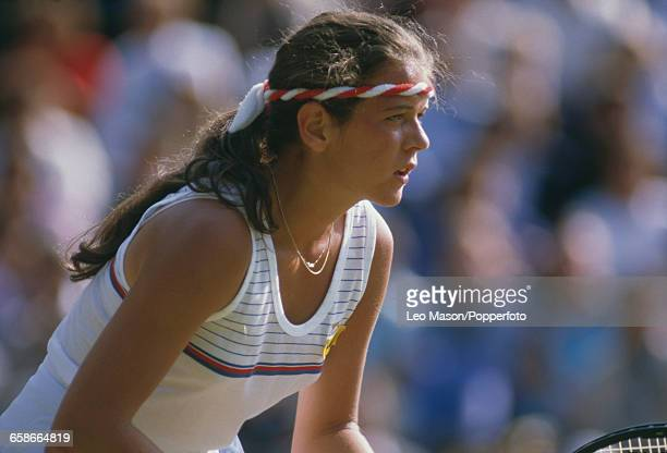 English tennis player Annabel Croft pictured in action during competition to reach the third round of the Women's Singles tournament at the Wimbledon...