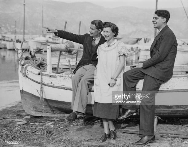 English tennis player Bunny Austin with his wife, the actress and tennis player, Phyllis Konstam and Michael Wallace on 27th January 1938 at...