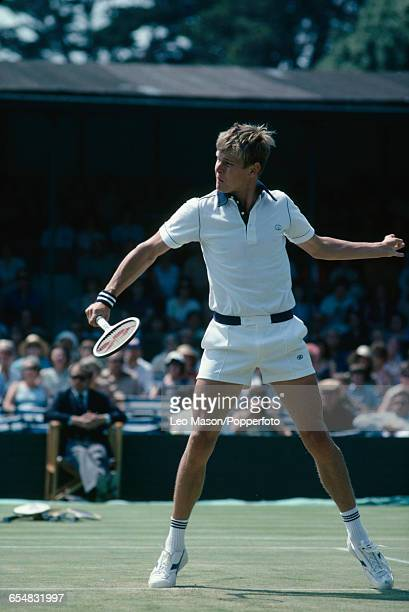 English tennis player Buster Mottram pictured in action competing for Great Britain against Spain during the semifinals of the 1979 Davis Cup Europe...