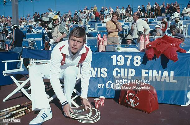 English tennis player Buster Mottram pictured preparing to compete for Great Britain against the United States team during the final of the 1978...