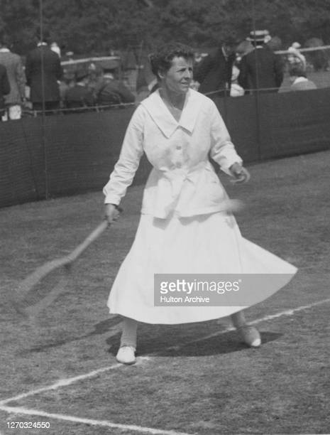 English tennis player Geraldine Beamish playing at Stamford Hill in London, 1919.