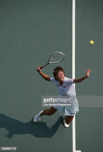 English tennis player Jo Durie pictured in action competing to reach the semifinals of the 1983 US Open Women's Singles tennis tournament at the USTA...