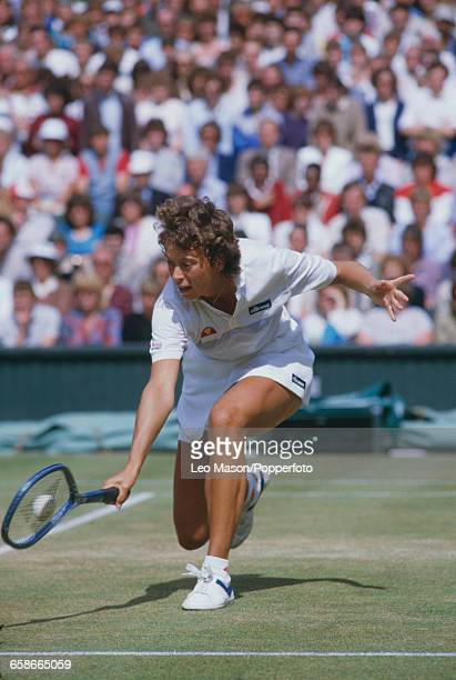 English tennis player Jo Durie pictured in action during competition to reach the quarterfinals of the Women's Singles tournament at the Wimbledon...