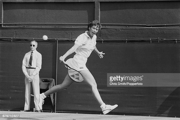 English tennis player Jo Durie pictured in action during competition to reach the third round of the Women's Singles tournament at the Wimbledon Lawn...
