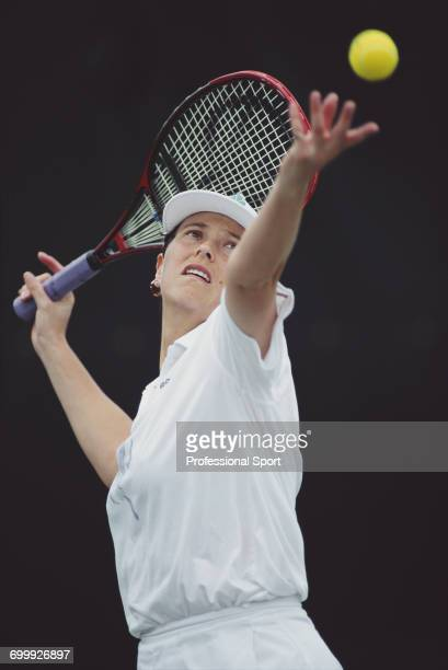 English tennis player Jo Durie pictured in action during competition in the Women's Singles tournament at the 1993 Lipton Championships at the Tennis...