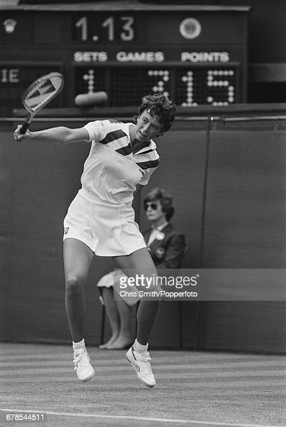 English tennis player Jo Durie pictured in action in her second round match against German tennis player Claudia KohdeKilsch before progressing to...