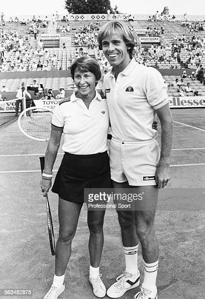 English tennis player John Lloyd and Australian tennis player Wendy Turnbull pictured smiling together after winning the mixed doubles competition at...