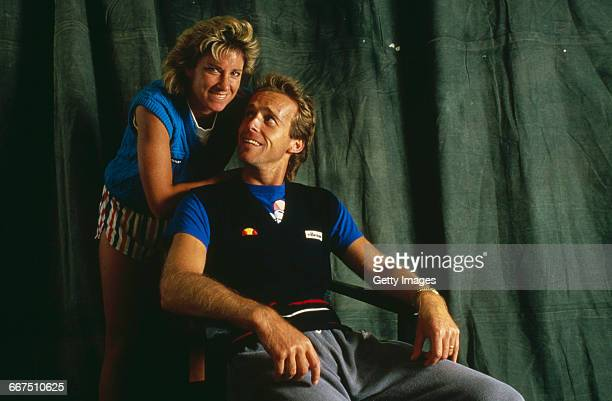 English tennis player John Lloyd and his wife American tennis player Chris EvertLloyd circa 1985