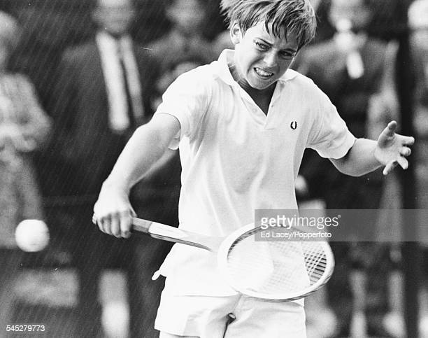 English tennis player John Lloyd in the middle of a match at the Junior All England Championships Wimbledon England September 11th 1968