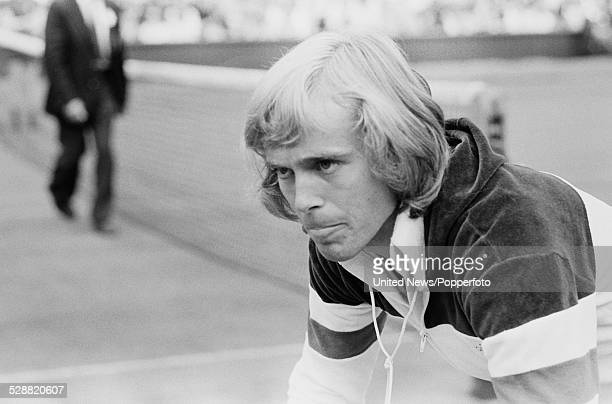 English tennis player John Lloyd pictured before his match with Brian Gottfried at Wimbledon Lawn Tennis Championships in London in June 1978