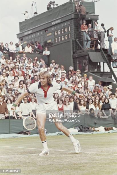 English tennis player John Lloyd pictured in action against Karl Meiler of West Germany in the second round of the Men's Singles tournament at the...