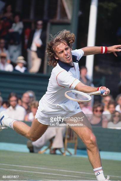 English tennis player John Lloyd pictured in action competing for Great Britain against Spain during the semifinals of the 1979 Davis Cup Europe Zone...