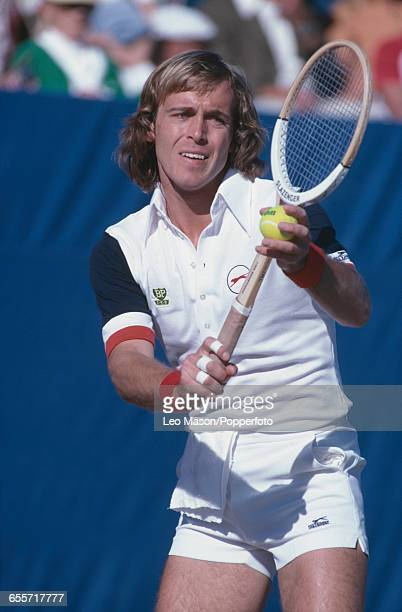 English tennis player John Lloyd pictured in action competing for the Great Britain team against the United States team during the final of the 1978...