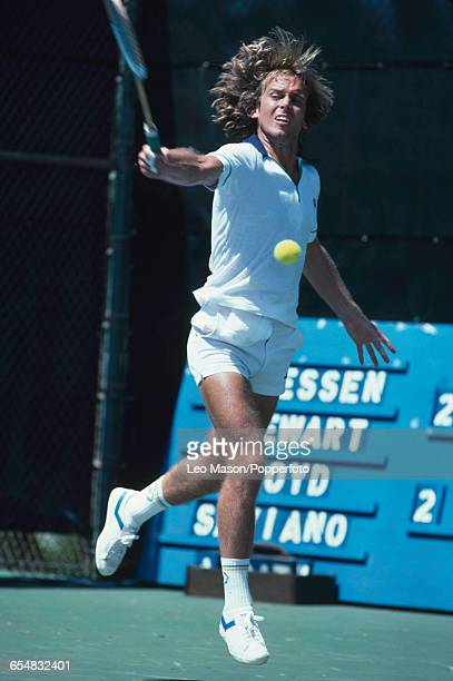 English tennis player John Lloyd pictured in action during competition in the Hawaii Open tennis tournament in Maui in Hawaii United States in...