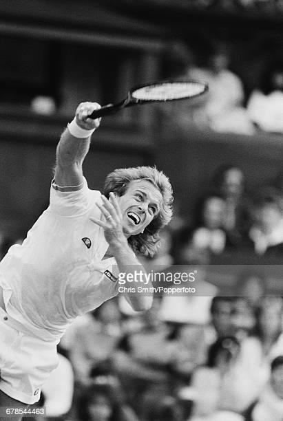 English tennis player John Lloyd pictured in action to lose his third round match against French tennis player Henri Leconte in the Men's Singles...