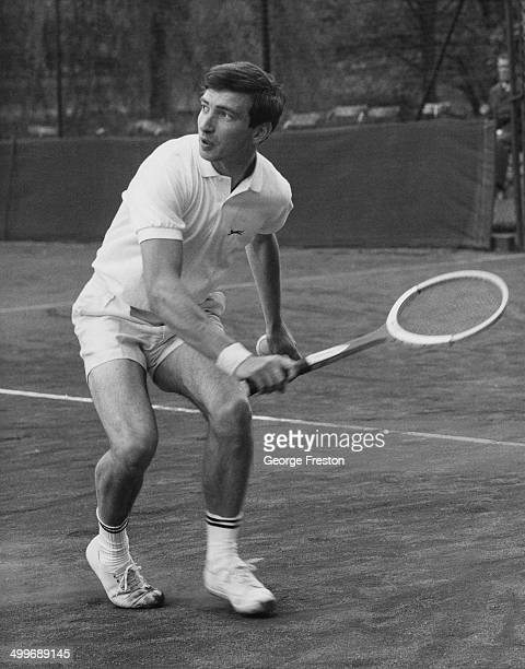 English tennis player Stanley Matthews on his way to beating W A Knight in the London Hard Court tennis championships at The Hurlingham Club Fulham...