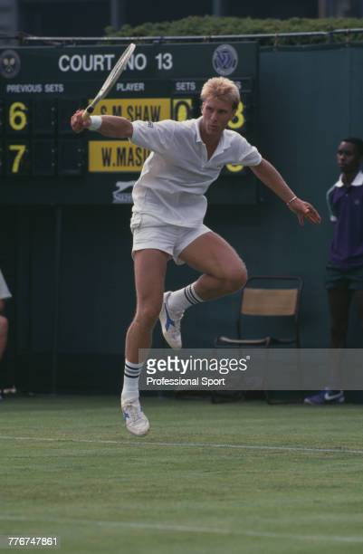 English tennis player Steve Shaw pictured in action to lose to Wally Masur of Australia in the first round of the Men's Singles tennis tournament at...