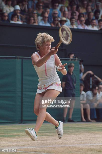 English tennis player Sue Barker pictured in action competing to progress to reach the quarterfinals of the Ladies' Singles tournament at the...